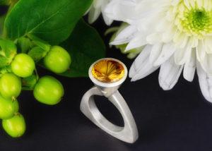 Ring, Silber, Citrin